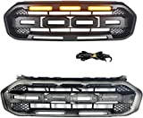 Refit For 2018-2021 Ranger Raptor Style Grille, Modified Front Replacement Grill Compatible with T8 MK3 XL XL+ XLT XLS FX4 Matte Black with Amber Led Lights