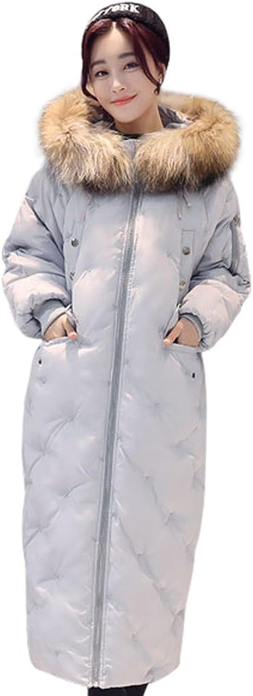 Drasawee Women's Winter Fur Hood Long Down Parka Coat