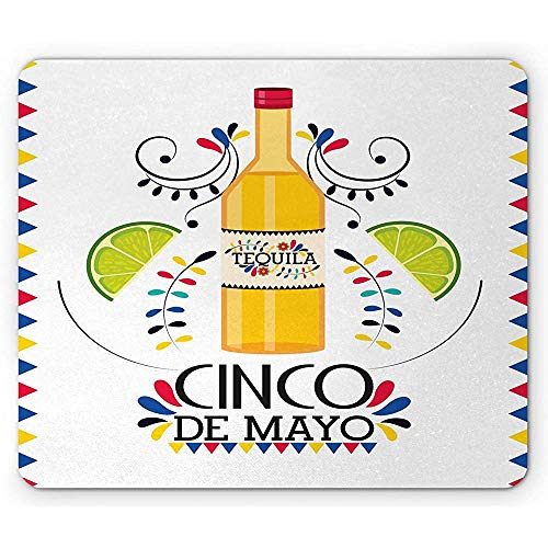 Muisonderlegger Cinco de Mayo, Tequila-fles met kalkschijven en driehoekig-ilalisatie, anti-slip rubberen muismat, meerdere kleuren
