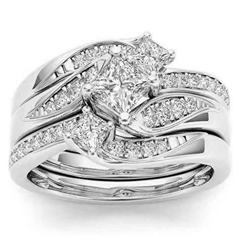 EvangeliaYM Fashion Twist Diamond Promise Wedding Rings Beauiful Shining Micro-Inlaid Zircon Rhinestone Romantic Gift Xmas Gifts Ladies Jewelry Silver 7