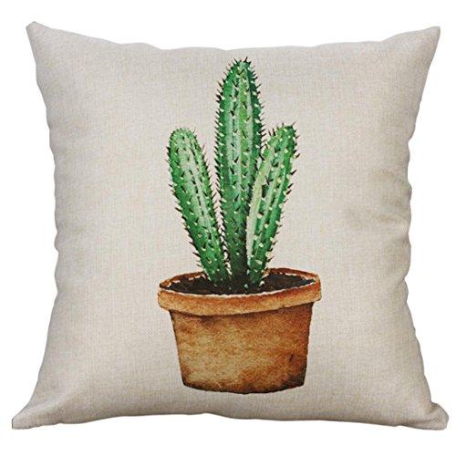 BakeLIN 45x45 cm Kissenbezug, Kaktus Topfpflanzen Drucken Quadrat Pillowcase Kissenhülle Taille Kissen Abdeckung Sofa Zuhause Dekor (45x45 cm, F)