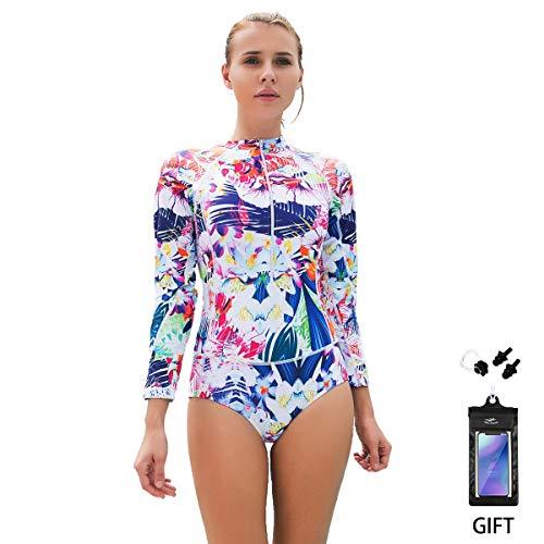 Bikini Badeanzug FOCLASSY Damen Einteiler BIKINI Badeanzug Langarm Mode FLower bedruckt Plus Size Reißverschluss vorne Push Up Bademode mit Chest Pad -10122 (Weiß, XXL/ EU40-42)