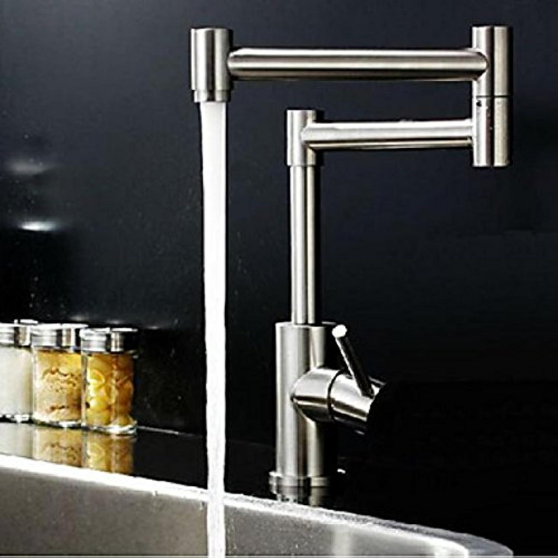 Robinet de cuisine flexible à design moderne muni d'une seule poignée et fini en nickel brossé