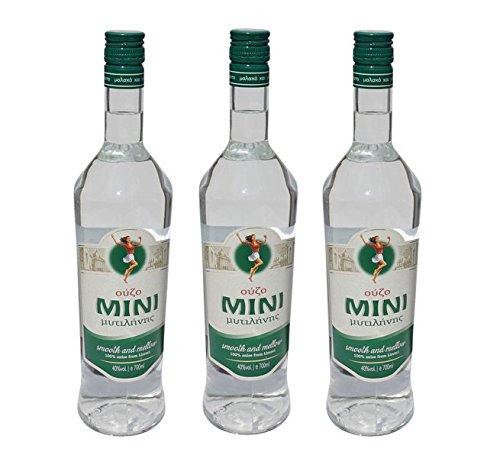 3x Ouzo Mini Mytilini 40% je 700ml aus Lesbos griechischer Traditions Trester - 3er Set + 10ml Olivenöl Sachet zum testen