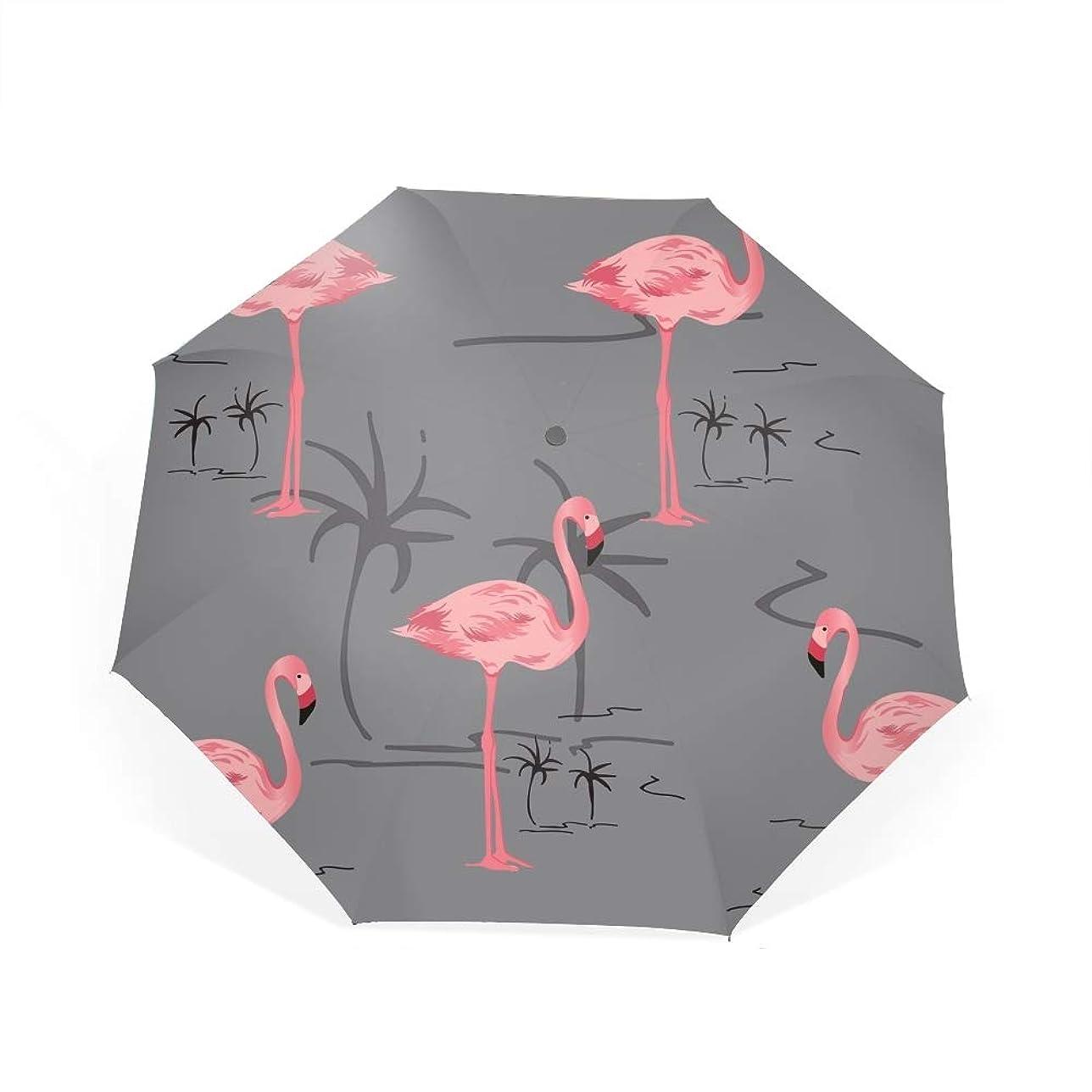 拒絶与える原稿ピンクのフラミンゴ自動開閉折り畳み傘 2重構造 耐風撥水8本骨 男女兼用 丈夫 大型 大きな傘 梅雨対策 収納ポーチ付き