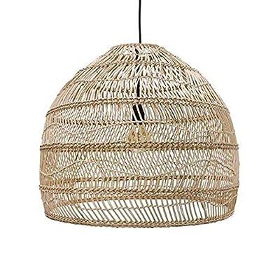 Material: El material principal de la lámpara es la lámpara pendiente de bambú, metal de alta calidad lacado, anti-corrosión, anti-óxido, cáñamo cuerda línea colgante, ideal para decorar su espacio interior.elección segura: la certificación CE, casqu...