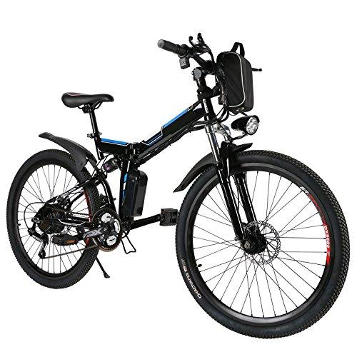 ANCHEER Bicicleta Eléctrica de Montaña Bicicleta Eléctrica de 26 Pulgadas Plegable con...