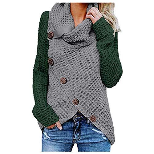 iHENGH Damen Herbst Winter Übergangs Warm Bequem Slim Lässig Stilvoll Frauen Langarm Solid Sweatshirt Pullover Tops Bluse Shirt(A Armeegrün, 2XL)