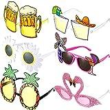 Hawaianas Fiesta Gafas,6 Pares de Gafas de Sol de Fiesta de Novedad Gafas de Sol Tropicales Hawaianas Gafas Fiesta Luau Tropical Disfraz Gafas