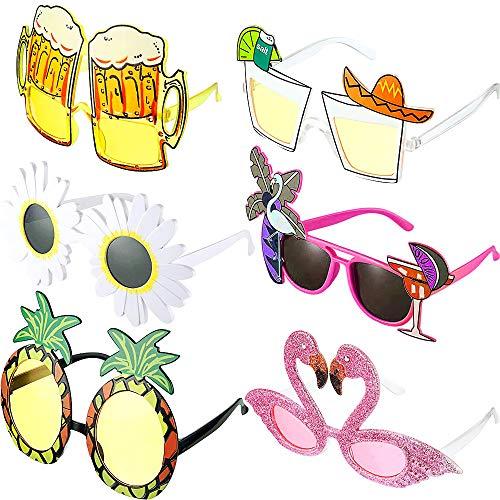 Tweal 6 Stück Hawaiianische Tropische Party Neuheit Sonnenbrille für Tropische Sommer Kostüm Party Requisiten Hawaii Luau Party Begünstigt Geschenke,Strand Foto Booth
