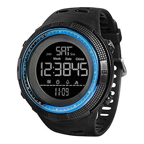 ZXCVB Reloj Deportivo para Hombres, Pulsera de Silicona 1.8 Pantalla Grande Luminosa Protección a Prueba de radiación a Prueba de Agua Rastreador de Salud Blue