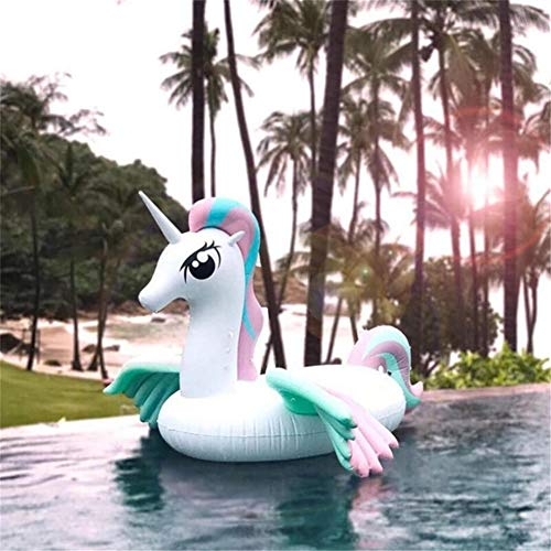 N / A Inflatable Unicorn Swimming Pool Floating Bed, Swimming Ring Flying Horse Floating Bed, Summer Leisure Party Floating Row Lounge