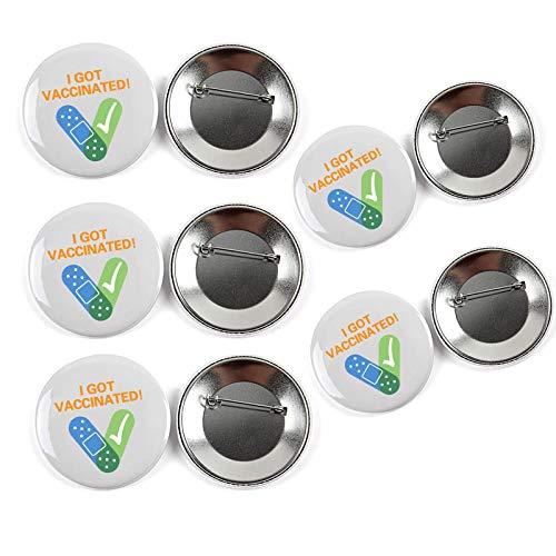 5 piezas de soporte para insignias de vacunas, broche de 2.28 pulgadas, me vacunaron por alfiler de botón, alfiler de broche de recuerdo 2021, mini botones para evitar que la ropa se caiga (Blanco)