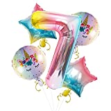 Globo digital con número 7, tamaño de 101,6 cm con forma de arco iris para decoraciones de fiesta de 7º cumpleaños con globos de unicornio de 45,7 cm y globo de estrella de aluminio para niños y niñas