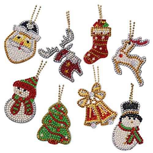 CLFYOU Diamond Painting Set, Diy Christmas Diamond Painting Pendant Art Craft Ornament Pendant Lovely Portable Christmas Pendant.