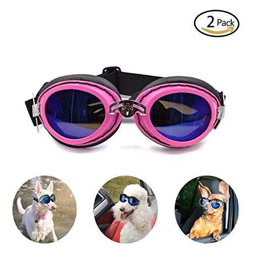 GDDYQ Hondenbril, opvouwbare verstelbare bandjes huisdier zonnebril waterdichte bril mode schattig huisdier oog bescherming sieraden, 2 stuks