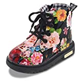 Chiximaxu Kid Girl's Floral Boots Lace Up Booties Black Flower,Toddler Size 9.5