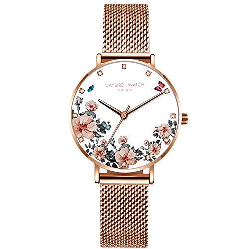 RORIOS Relojes de Mujer Flor Dial Pulsera Acero Inoxidable Correa Relojes para Dama Regalo de Cumpleaños Reloj de Pulsera