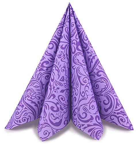 finemark 100 Stück Papierservietten Gemustert LILA/Flieder 40 x 40 cm Tissue Servietten 3- lagig Hochzeit Geburtstag Dinner Tischdekoration