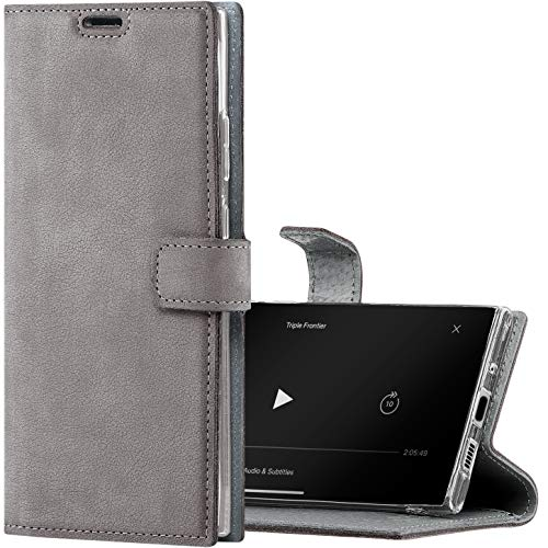 SURAZO Handyhülle für S20 FE hülle Premium RFID Echt Lederhülle Schutzhülle mit Standfunktion - grau Klapphülle Wallet case Handmade in Europa für Samsung Galaxy S20 FE 5G / 4G