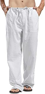 Mens Loose Casual Linen Trousers with Drawstring Pockets Lightweight Yoga Pants Comfy Beach Lounge Bottoms