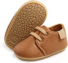 SOFMUO Baby Boys Girls Lace Up Leather Sneakers Soft Rubber Sole Infant Moccasins Newborn Oxford Loafers Anti-Slip Toddler Wedding Uniform Dress Shoes(A/Brown,6-12 Months)