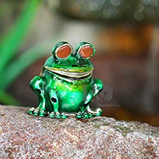 HJ Lopez Figurines & Miniatures   2inch Metal Big Eyes Frog Trinket Boxes Ornament Crystals,Hand-Painted Patterns Hinged Jewelry Trinket Box Collectible Gift