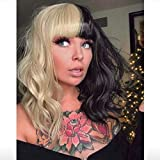 Miman Half Blonde and Half Black Wig Short Bob Wavy Curly Wig with Bangs 2-Tone Dyed Hair Halloween Cosplay Party Wig