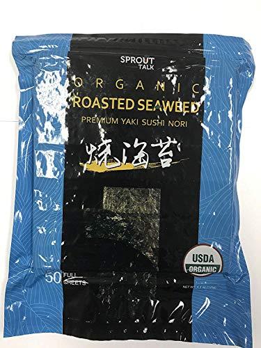 Premium Organic Roasted seaweed Sushi Nori, 50 Full Sheets