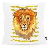 VOID León Cojín con Dibujo Funda de cojín Funda para Outdoor Indoor Safari Africa Savannah Verano, Kissen Größe:40 x 40 cm
