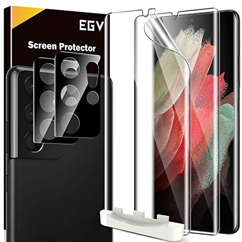 EGV 4 Stück Schutzfolie für Samsung Galaxy S21 Ultra, 2 TPU Folie & 2 Kamera Schutzfolie, mit 1 Stück Null Fehler Positionierhilfe, Klar HD Weich TPU Folie