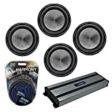 Harmony Audio (4) HA-A152 Car Stereo Alloy Series 15' Sub 1500W Subwoofer Bundle with HA-A1500.1 Amplifier & Amp Kit