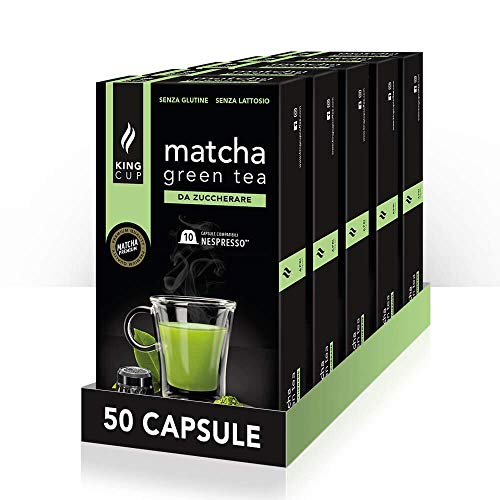 King Cup - 5 Paquetes de 10 Cápsulas de Matcha Tea Sin Azúcar, 50 Cápsulas 100% Compatible con el Sistema Nespresso de Bebida con Sabor de Tè Matcha, Sin Gluten y Sin Lactosa