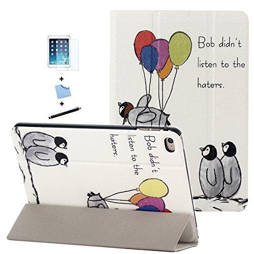 TIODIO 4 en 1 Ultra Sottile Slim Smart Book Cover Custodia Rigida Protezione Case Protezione per iPad Mini 4 Tablet, Custodia in Pelle con Supporto, Pellicola di Protezione e dello Stilo Incluse, 03
