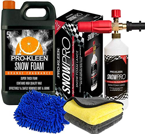 Pro-Kleen 5L Orange Snow Foam Shampoo + Snow Foam Lance Gun Kit + Lance For Use With Karcher K Series K2, K3, K4, K5, K6 and K7 and Microfibre Wash Pad Mitt and Microfibre Cloths