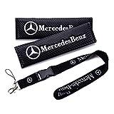 QZS Key Chain Holder Belt Cover 2020 2pcs/Set Carbon Fiber Seat Belt Shoulder Pad Cover 9.1INCH with Car Key Ring Lanyard Badge Holder Excellet Quality for Cars(Mercedes Benz)