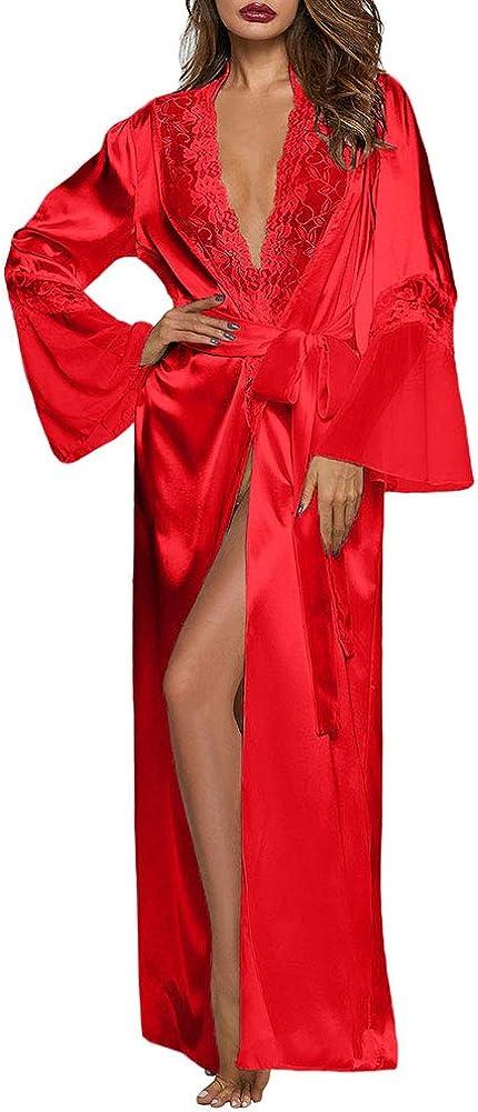 XAKALAKA Womens Long Robe Kimono Satin Gown Lingerie S-XXL