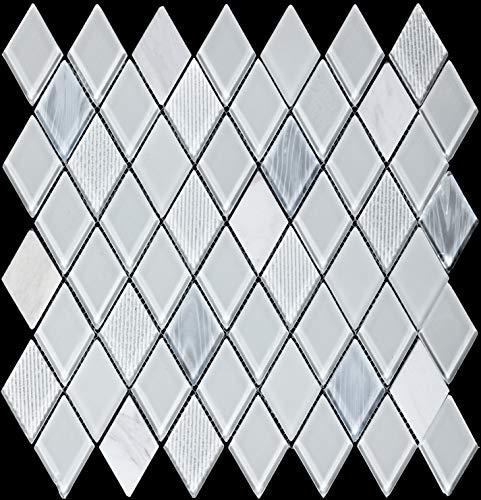 Diamond-Shaped Glass Stone Mosaic Wall Tile White Marble Mosaic Art Deco(Size: 10.9410.942.36inches)