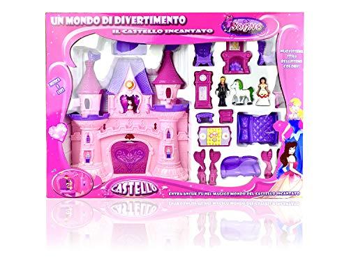 B BRUCHINO ITALY Casa delle Bambole, Il Castello Incantato, Castello Rosa con Personaggi, Luci e Suoni.