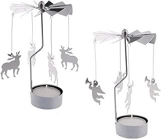 RETON 2 Pcs Metal Rotating Tea Light Candle Holder Silver DIY Spinning Tealight Holder for Home Festival Decoration+8pcs Tealight Candles (Deer&Angel)