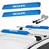 Neolife Soft Roof Rack Pads with Two 15 Ft Wrap-Rax Straps for Surfboard, SUP Paddleboard, Snowboard, Kayak, 28inch (Pair) Navy
