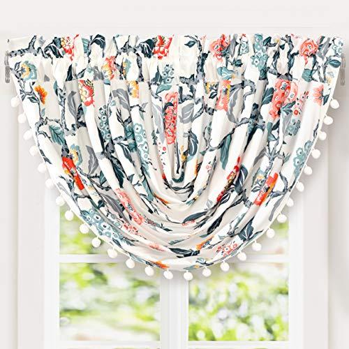 DriftAway Ada Sketch Waterfall Botanical Flower Floral Leaf Print Thermal Insulated Window Curtain Swag Valance Rod Pocket 52 Inch by 18 Inch Plus 2 Inch Header Multi