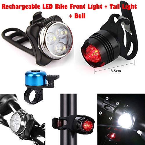 N/J USB recargable faro trasero+Bell Set Super brillante LED bicicleta bicicleta luz Accesorios