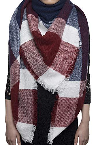 Schal Damen Karo Schal übergroßer Winterschal XXL Damen Schal mit Karo Streifen Plaid Muster Quadratisch Deckenschal