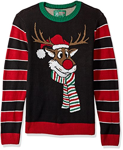 Ugly Christmas Sweater Company Men's Assorted Animals Crew Neck Xmas Sweaters, Black Reindeer Poopermints, L