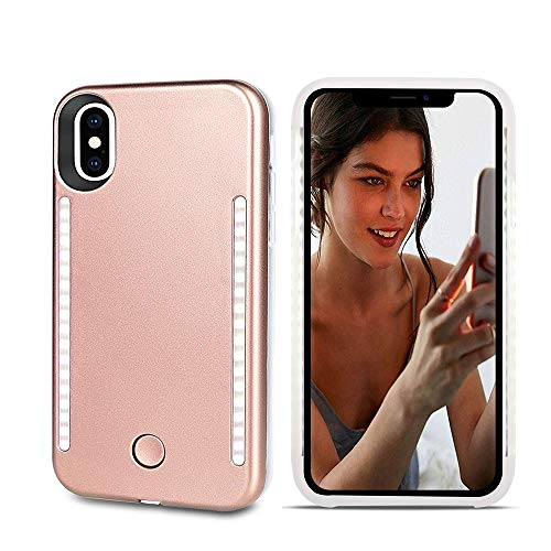 Selfie Light up Case for iPhone Xs Max,LNtech Rechargeable LED Light Up Flash Lighting Selfie Case Dual Side Flashlight Illuminated Cover [Dimmable Switch] for iPhone Xs Max(Rose Gold, iPhone XS Max)