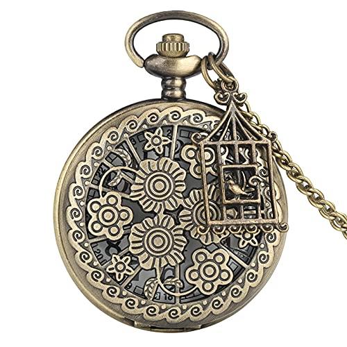 NZDY Reloj de Bolsillo Clásico Bronce Mariposa Y Flor Estilo Vintage Collar Reloj de Bolsillo Cadena Colgante Cuarzo Reloj Reloj Reloj de Bolsillo Vintage Hombre/B