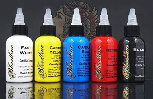 Bloodline 5 Color Primary Tattoo Ink Set - 1/2 oz Bottles