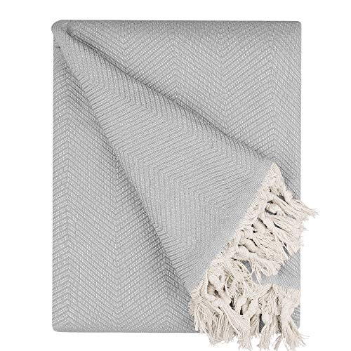 BOHORIA® Premium Tagesdecke Tulum - Bettüberwurf Wohndecke Wendedecke Kuscheldecke Sofadecke mit Muster | extra-groß 170 x 230 cm (Cloud)