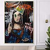 wZUN Pintura Abstracta de la decoración de la Sala de Estar del Arte del Doodle de Jesús ama el Dinero Cartel Divertido y Pintura al óleo sobre Lienzo 60x90 Sin Marco